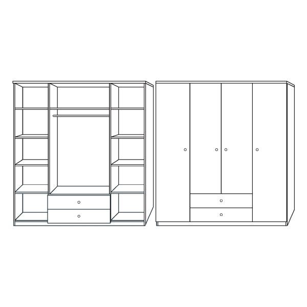 armario 4 puertas 2 cajones